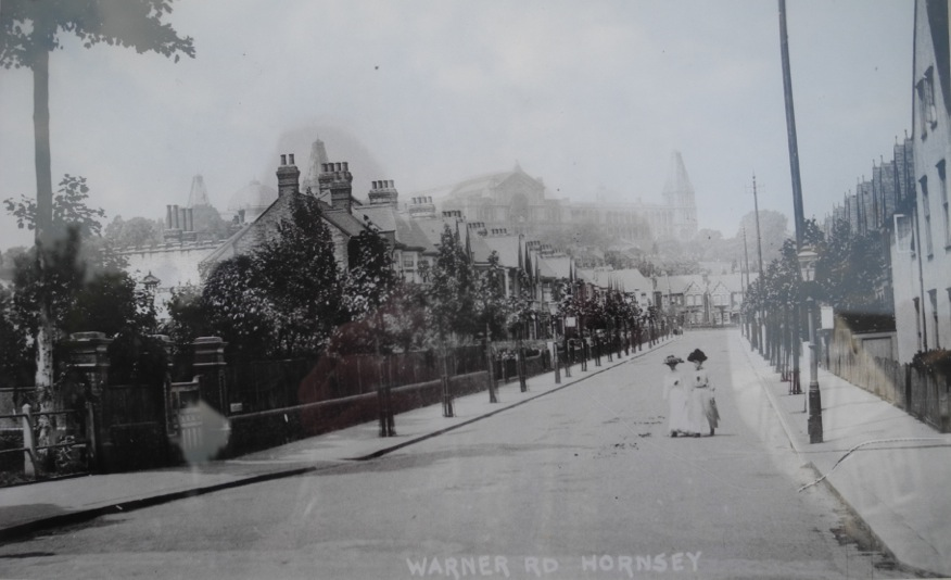 a postcard showing Warner Road in about 1912